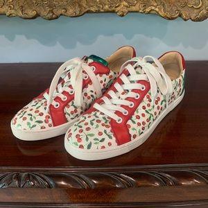 Louboutin Seava Caviar Cerise Sneakers 39